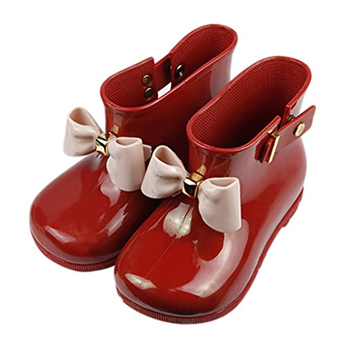 iFANS Child Girl Kids Cute Bow Rainboots Rubber Princess Rain Boots(Pink/Red/Green/Black)