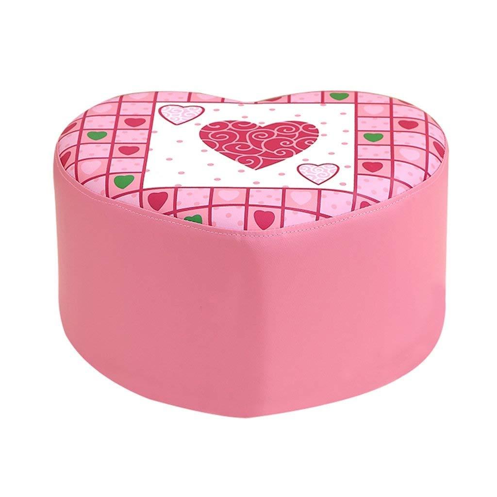 ZDXMZ Stools Childrens Heart Peach Shoe Bench Pink Princess Soft Small Sofa 42 37 25cm by ZDXMZ