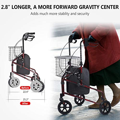 Upgraded Version! Health Line Lite Folding 3 Wheel Aluminum Rollator Walker Lightweight with Bag and Basket, Flame Red