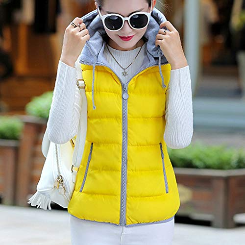 Sleeveless Vest Gilet Down Light Weight Yellow Women's GladiolusA Hooded Coat Puffer Jacket xw4RSXqAcT