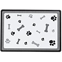 Petface Bones Black Pet Food Placemat