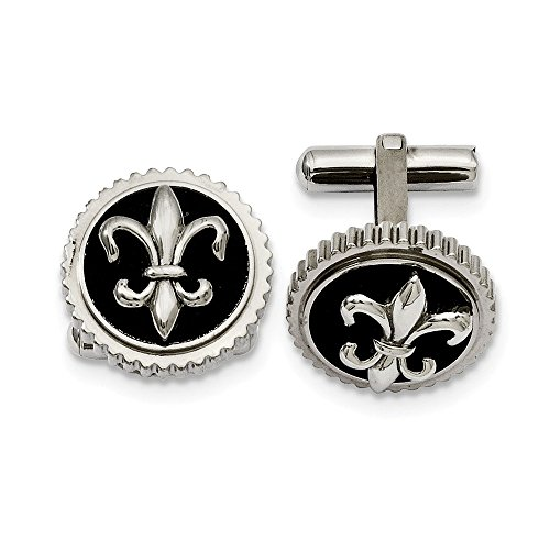 Chisel Titanium Polished with Black Enamel Fleur De Lis Cuff Links