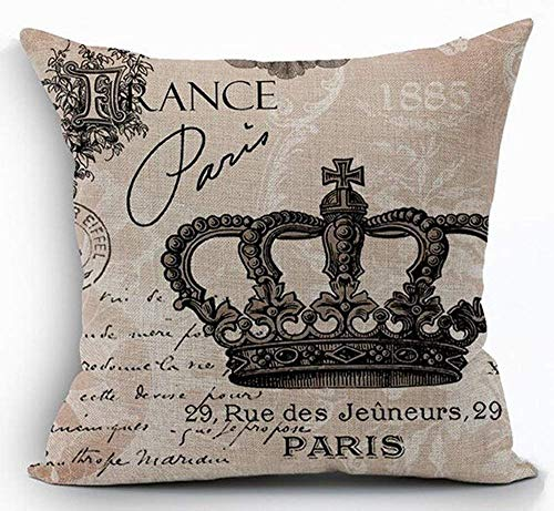 - Dozili Cotton Linen Square Decorative Throw Pillow Case Cushion Cover Retro Vintage French Royal Family 1885 Queen King Crown Pattern 18