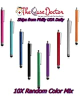 TCD [10 PACK] Colorful Premium Long Metal Capacitive Stylus Pens [UNIVERSAL] Compatible with ALL TOUCH SCREEN DEVICES [BLACK, AQUA BLUE, RED, PINK, PURPLE]