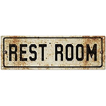 Great Restroom Embossed Look Rusted Bathroom Metal Sign Vintage Style 18 X 6
