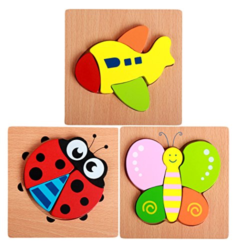 (Hillento Wooden Puzzles for Toddlers Kids Girls Boys Babies - Educational Puzzle Toys Set, Colorful Solid Wood Pieces. Educational & Sensory Learning for Toddlers, Set of 3 (Ladybug, Butterfly, Plane))