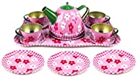 Flower Springtime Children's Kid's Full Metal Durable Pretend Play Toy Tea Set w/ Cups Tea Pot Plates Tray (Styles May Vary)
