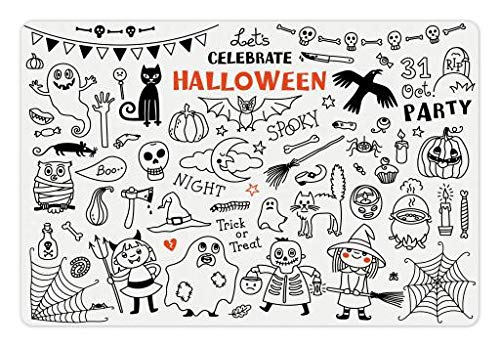 Lunarable Halloween Pet Mat for Food and Water, Lets Celebrate Halloween Quoted Skeleton Cat Owl Night Drawings Bat, Rectangle Non-Slip Rubber Mat for Dogs and Cats, Black White Burnt Orange