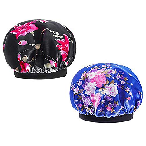 2 Pack Women's Satin Sleep Cap for Hair Wide Band Elastic Sleep Bonnet Hair Styling Hat Night Cap (Blue+Black)