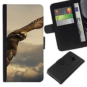 HTC One M9 , la tarjeta de Crédito Slots PU Funda de cuero Monedero caso cubierta de piel ( Owl Hawk Predator Hunting Bird Prey)