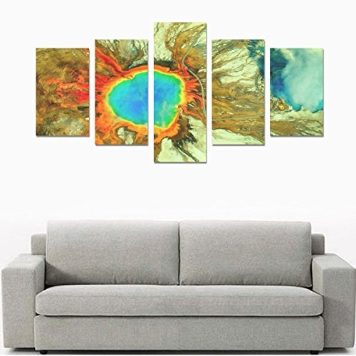 LumosSports Yellowstone National Park Print 5 Piece Wall Art Painting Prints No Frame Only Canvas Home Decor for Living Room Kitchen Decoration(12x20inch 2pcs, 12x23inch 2pcs, 12x31inch (Yellowstone National Park Sign Charm)