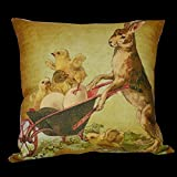 wheel barrow cover - Crafted Creations Bunny Pushing Little Chicks in a Wheelbarrow Decorative Throw Pillow Cover 14""