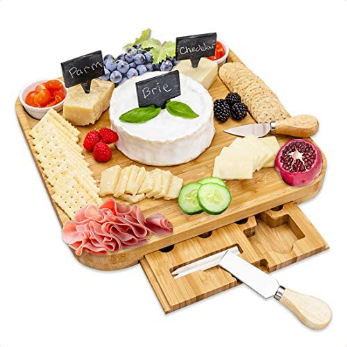 Amazon Com Cheese Board And Knife Set Natural Bamboo Charcuterie Board Set Elegant Cheese Platter With Hidden Drawer Wooden Cheese Tray With Knives Bowls Slate Tags And Chalk