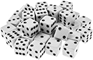 Super Z Outlet Standard 16mm White Dice with Black Pips Dots for Board Games, Activity, Casino Theme, Party Fa