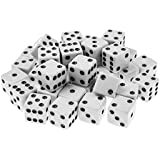 Super Z Outlet Standard 16mm White Dice with Black Pips Dots for Board Games, Activity, Casino Theme, Party Favors, Toy Gifts (100 Pack)