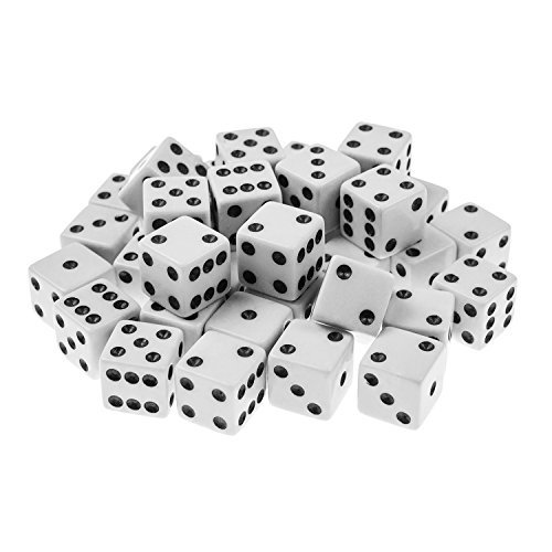 Playing Dice - Super Z Outlet Standard 16mm White Dice with Black Pips Dots for Board Games, Activity, Casino Theme, Party Favors, Toy Gifts (100 Pack)