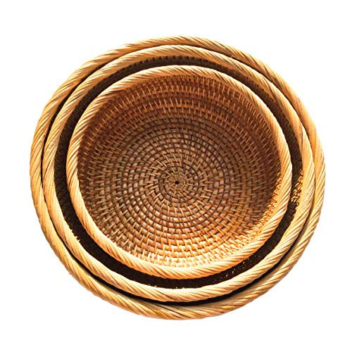 Eco Serveware - Handmade Rattan Fruit Bowl, Handwoven Multi-purpose Storage Basket, Round, Natural Rattan, Set of 3 Different Sizes