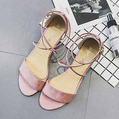 YFF Donna Sandali Comfort estivo PU Outdoor tacco basso Lace-up,Arrossendo Pink,US7.5 / EU38 / UK5.5 / CN38