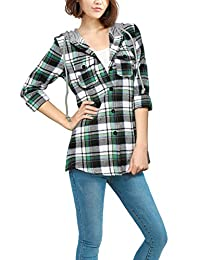 Allegra K Women Button Down Plaids Hooded Shirt