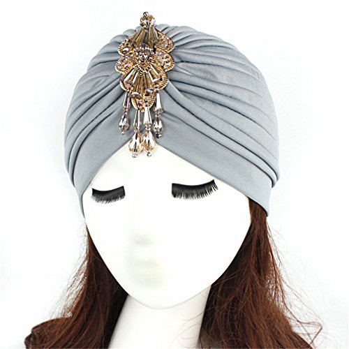 (Turban Head Wrap Hat With Beaded Pendant Women Headwear l)