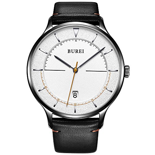 Calf Leather Large (BUREI Unisex Ultra Thin Minimalist Watches with Large White Face Calendar Mineral Glass Calfskin Leather Band)