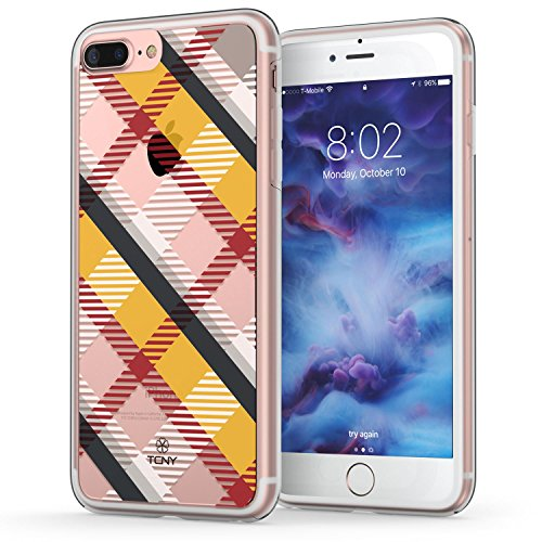 Apple Yellow Plaid (iPhone 7 Plus Case, Plaid iPhone 7 Plus Case, True Color Translucent Diagonal Plaid Design Printed on Clear Hybrid Cover Hard +Soft Slim Durable Protective Shockproof TPU Bumper - Yellow / Black / Red)