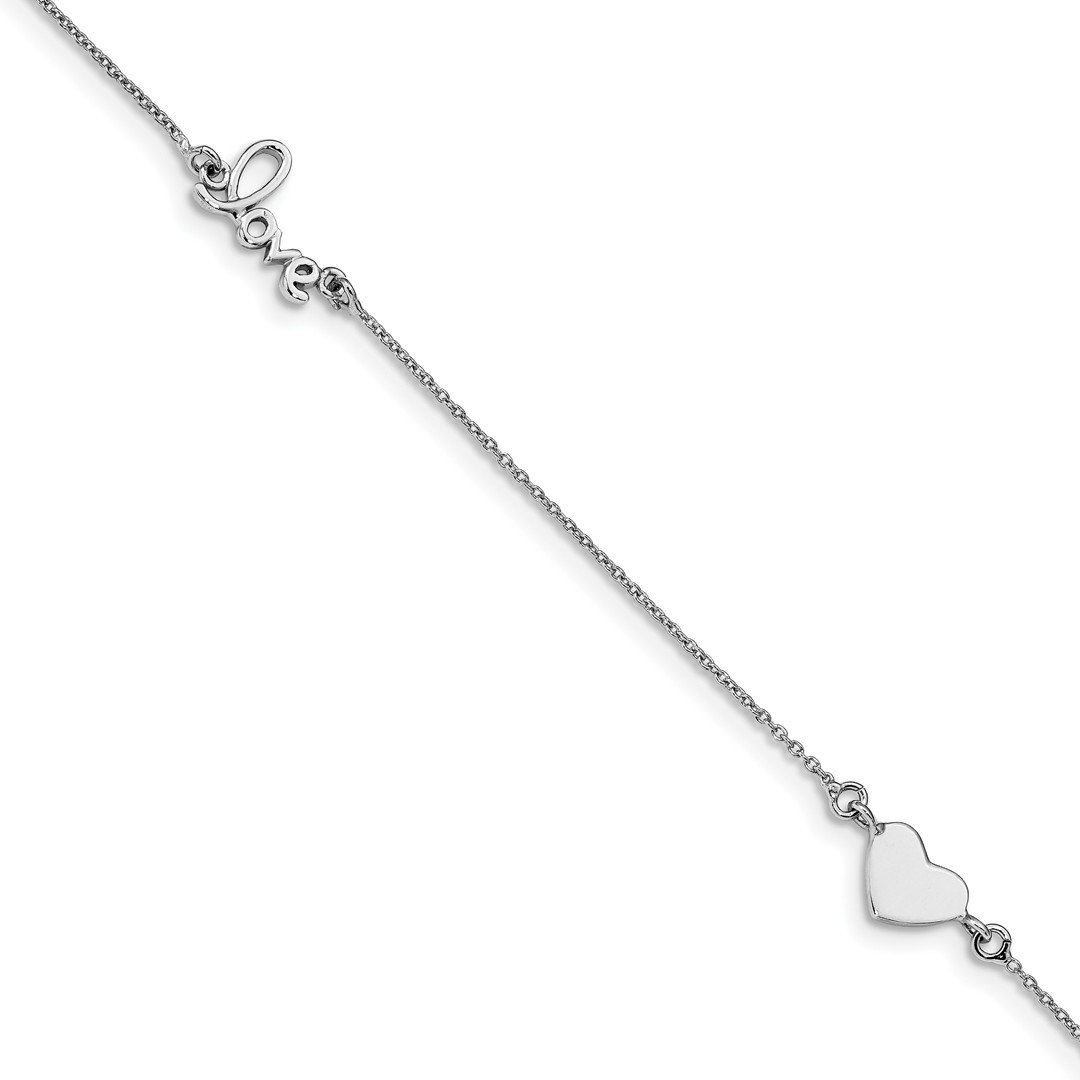 Ankle Bracelet Foot Jewelry Anklet - ICE CARATS 925 Sterling Silver Heart Love 1 Inch Adjustable Chain Plus Size Extender Anklet Ankle Beach Bracelet Fine Jewelry Ideal Gifts For Women Gift Set From
