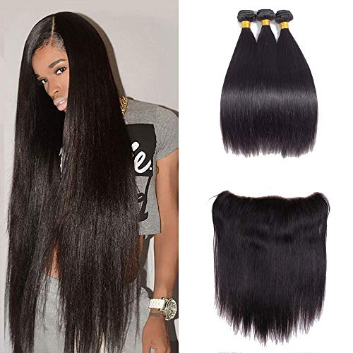 - Brazilian Straight Hair 3 Bundles with Frontal 13x4 Ear to Ear Lace Frontal Closure Human Hair Frontal and Bundles Natural Color (16 18 20with14, natural color)