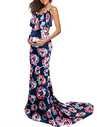 RUICI Women's Maternity V Neck Ruffles Spaghetti Strap Floral Fit Gown Maxi Dress for Photoshoot Baby Shower Navy XL by Ruici