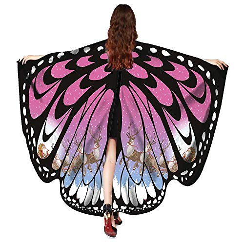 iLXHD Women Christmas Butterfly Wings Shawl Scarves Poncho Costume Accessory