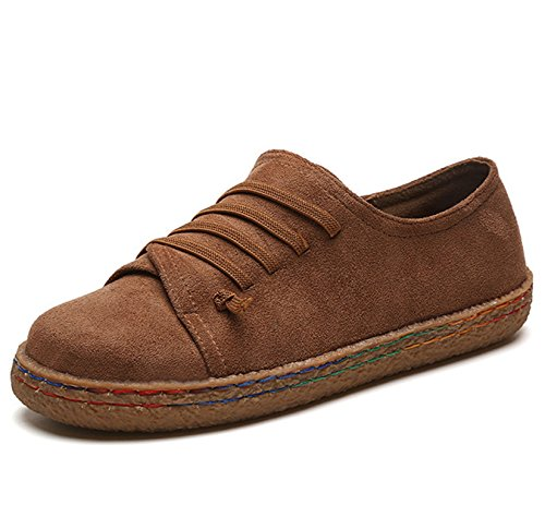 Labatostyle Women's Casual Suede Leather Loafer Wide Flat Travel Slip-On Boat Shoes (9 B(M) US, Brown)
