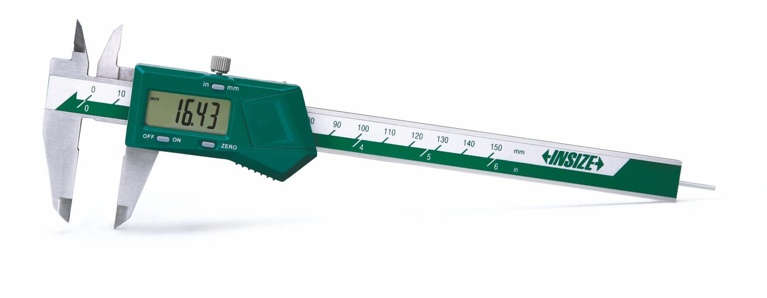 INSIZE 1119-150 Electronic Caliper with Round Depth Bar, 0-6''/0-150 mm