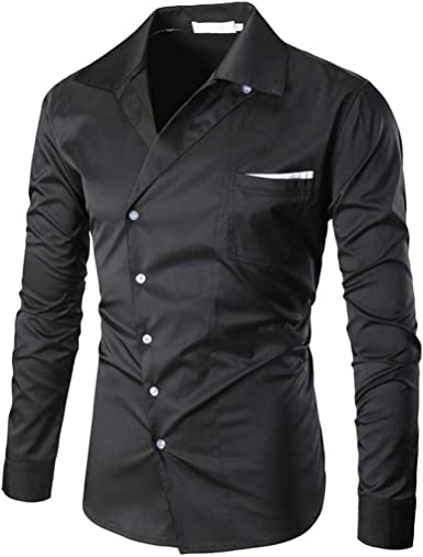 Yvelands Camisa de otoño para Hombres, Camisa de Manga Larga con Cuello en Pico de los