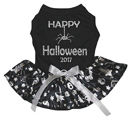 [Petitebella Puppy Clothes Dog Dress Halloween 2017 Black Top Silver Pumpkin Tutu (X-Small)] (Top Dog Costumes 2017)