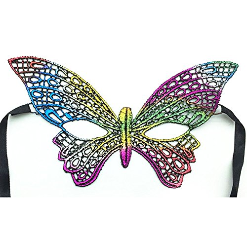RuiFengShun Multicolor Sparkling Sexy Lace Eye Mask Masquerade Mask for Halloween Christmas Rave Costume Party,Type (5 Types Of Halloween Costumes)