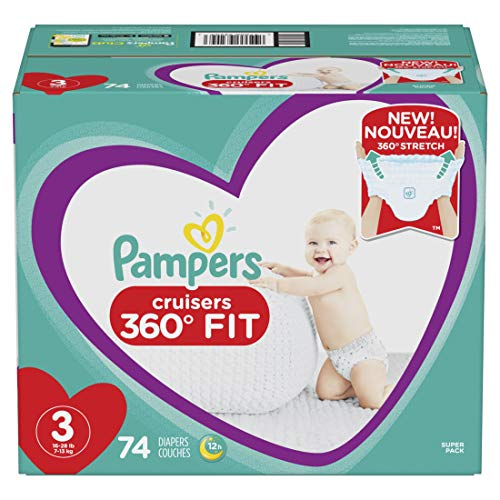 Pampers Pull On Diapers Size 3 - Cruisers 360˚ Fit Disposable Baby Diapers with Stretchy Waistband, 74Count Super Pack
