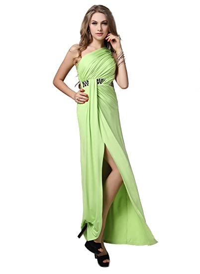 Lovely One Shoulder Beaded Evening Prom Dress UK NEXT DAY DELIVERY (UK6-UK10,