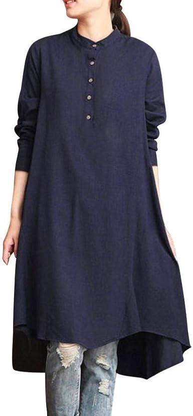 Camiseta Elegante, Blusa para Mujer Ocio Blusa De Algodón Larga De ...