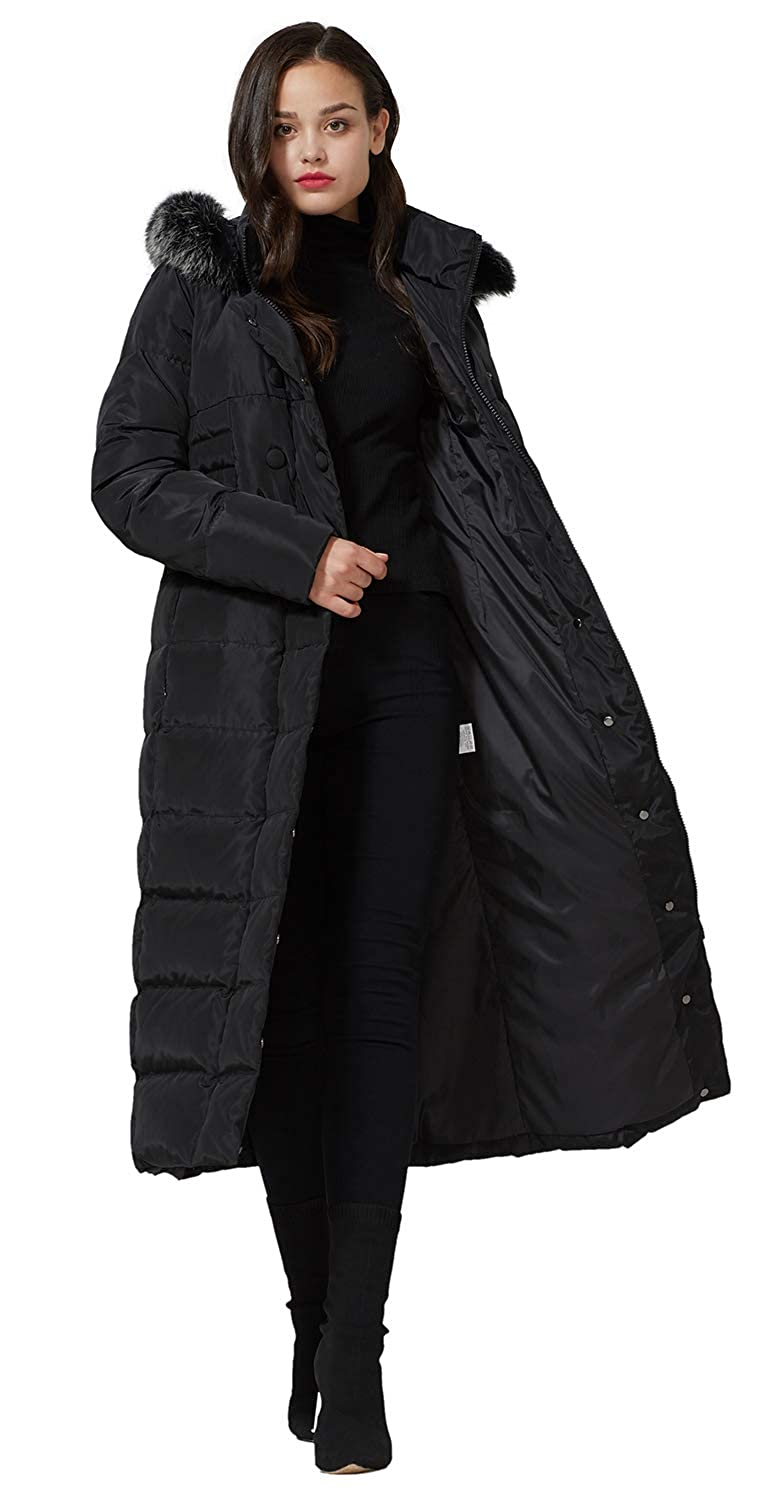 88a7c28de Molodo Women's Long Down Coat with Fur Hood Maxi Down Parka Puffer Jacket