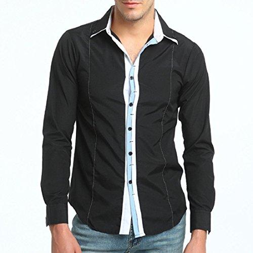 Men's Stylish Colorblocked Long Sleeve Dress Shirt Casual Slim Fit Shirt Tops (S, Black) by GONKOMA Mens Shirts