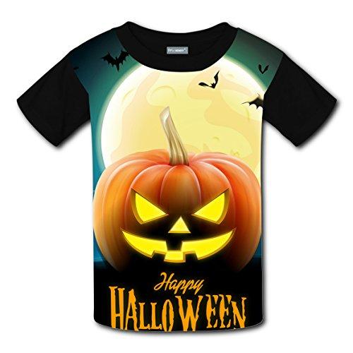 Halloween Pumpkin Coustom Unisex Kids Soft T-Shirts Black Short Sleeve Tee for Boys (Halloween Coustoms)