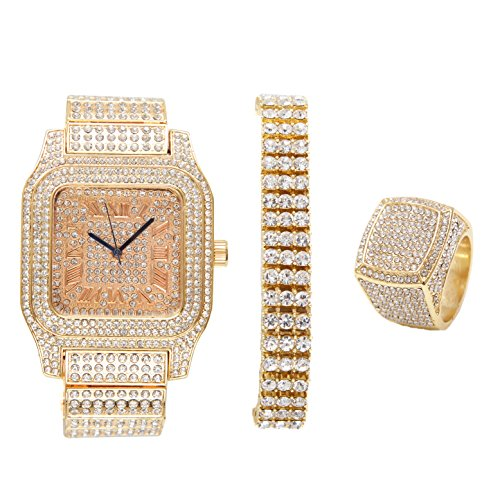 Bling-ed Out Biggie Sq. Iced Gold Hip Hop Watch w/ 3 Row Bling-ed Out Tennis Bracelet and Bling-ed Out Ring - You Will Hypnotize in a Flashy Way - 0513G3RT3Set(8) by Charles Raymond
