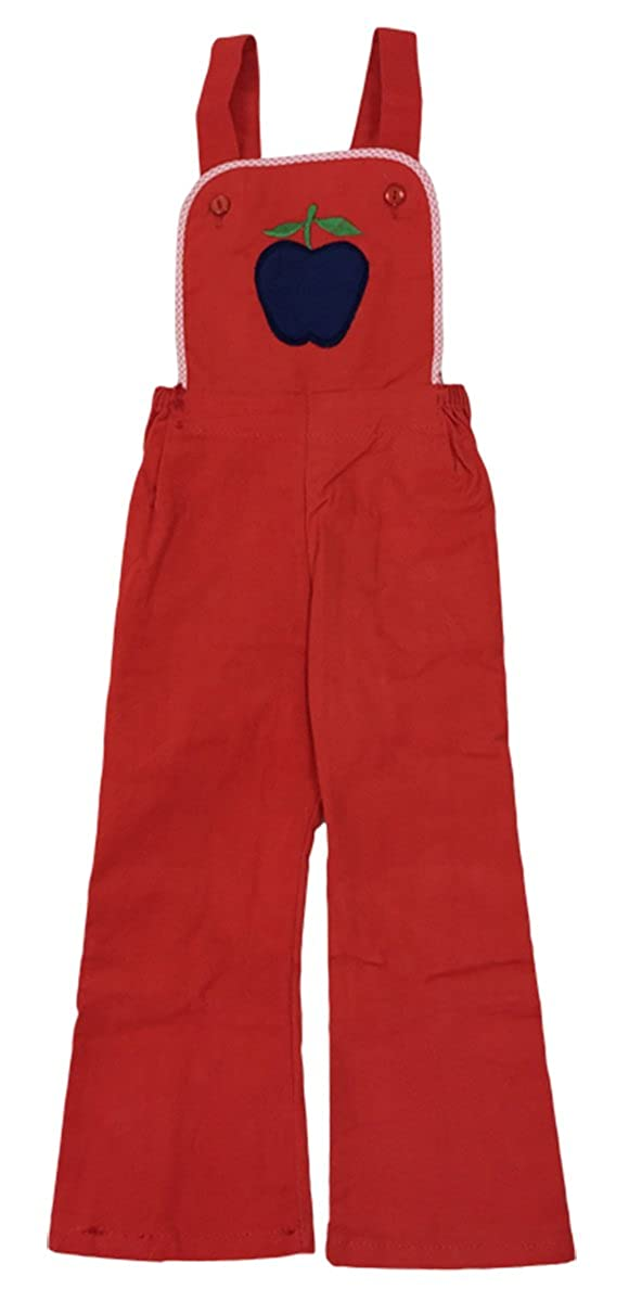 Boys Girls Vintage Gingham Trim Apple Dungaree Trousers Pants Sizes from 1.5 to 3 Years