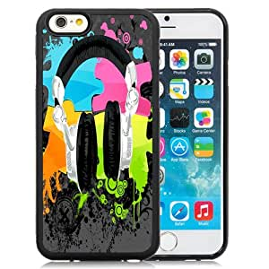 NEW Fashion Custom Designed Cover Case For iPhone 6 4.7 Inch TPU Headphones Black Phone Case