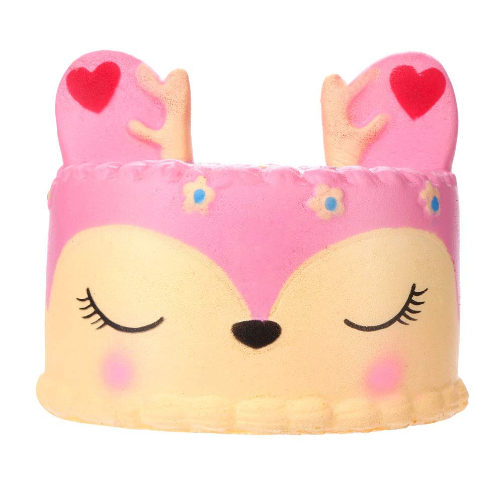 callm Jumbo Squishy Squeeze Toys Adorable Squishies Pink Deer Cake Slow Rising Soft Scented Charms Squishy Stress Reliever Anxiety Relief Squishies Toys for Kids and Adults