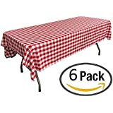 Pack of 6 Plastic Red and White Checkered Tablecloths - 6 Pack - Picnic Table Covers by Oojami