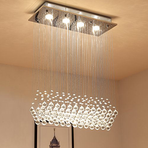 Saint Mossi Modern K9 Crystal Raindrop Chandelier Lighting Flush mount LED Ceiling Light Fixture Pendant Lamp for Dining Room Bathroom Bedroom Livingroom 4 GU10 Bulbs Required H31