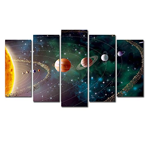 Horgan Art - 5 Pieces Canvas Print Wall Art - Solar System Poster Galaxy Universe Eight Planets Painting - Modern Artwork for Kids Living Room Bedroom Home Decor (Framed and Ready to Hang) ()