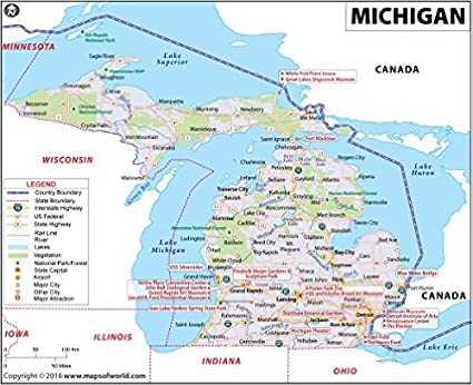 Michigan And Indiana Map.Amazon Com Michigan Map Laminated 36 W X 29 36 H Office