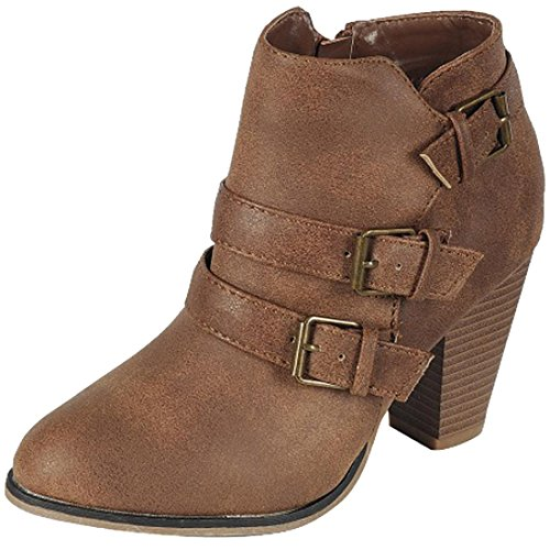 Cambridge Select Dames Buckle Block Chunky Heel Enkellaarsjes Tan